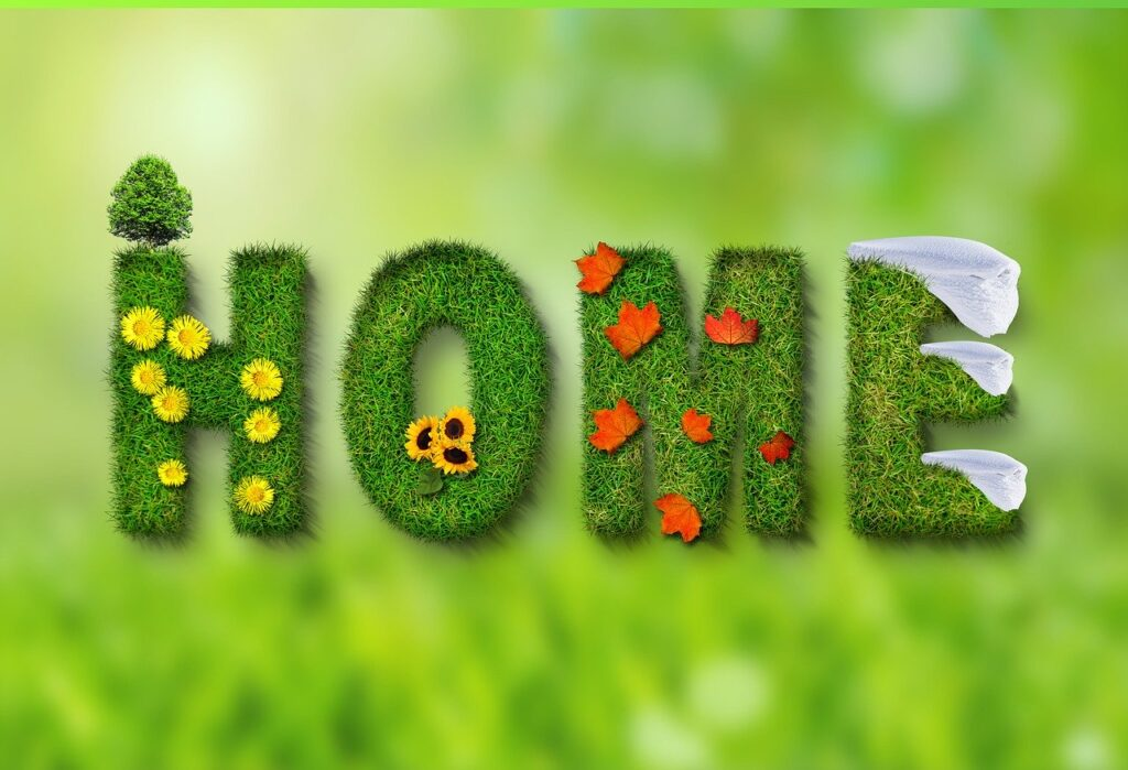 Home Pretty Text with Grass and flowers