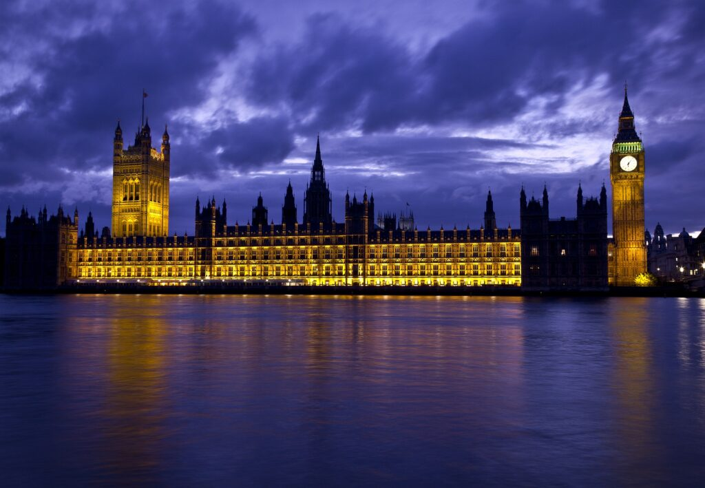UK Parliament in front of the Thames River